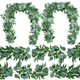 4 Packs 6.2 Feet Artificial Silver Dollar Eucalyptus Leaves Garland with Willow Vines Twigs Leaves String for Doorways Greene