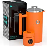 Coffee Gator French Press Coffee Maker - Thermal Insulated Brewer Plus Travel Jar - Large Capacity, Double Wall Stainless Ste