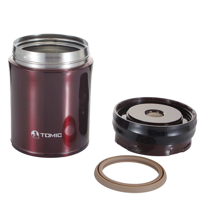 TOMIC トミク 真空断熱ステンレス スープジャー 保温保冷弁当箱 フードコンテナー バック・スプーン付き 0.5L ローズゴールド 305703