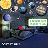 MAFOX Glow in The Dark Planets, Bright Solar System Wall Stickers -Sun Earth Mars and so on,9 Glowing Ceiling Decals for Bedr