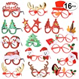 16 PCS Holiday Glasses,Cute Christmas Glasses Frames,Flexibility to Fit,Great Fun and Festive for Annual Holiday and Seasons