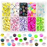 300Pcs Smiley Face Beads, 10mm Acrylic Round Happy Face Loose Spacer Beads Colorful Smiley Face Charms for Jewelry Making Bra