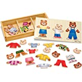 Melissa & Doug 3770 Mix 'n Match Wooden Bear Family Dress-Up Puzzle With Storage Case (45 pcs)