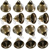 BigOtters Craft Bells, 16PCS Bronze Jingle Bells Vintage Bells with Spring Hooks Hanging for Wind Chimes Making Dog Potty Tra