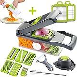 Mandoline Slicer Adjustable Cheese Slicer,Vegetable Chopper Hand Spiralizer,Potato Spiral Cutter Garlic Onion Dicer Fruit Pee