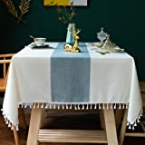 Oubonun Tablecloth for Dining Table Rustic Farmhouse Kitchen Table Cloth Coffee Table Cover, Cotton Linen Fabric Small Rectan