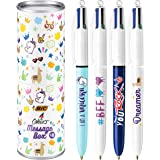 BIC 4 Colours Message Box - Ball Pen Medium Point (1.0 mm) - Assorted Design and Messages, Metal Gift Box of 8 Pens, Metal Ti