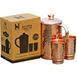 HealthGoodsIn - Pure Copper (99.74%) Hammered Water Jug with 2 Hammered Copper Tumblers | Copper Pitcher and Tumblers for Ayu