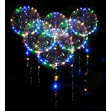 10 Pack Led Bobo Balloons, Zodight Transparent LED Light Up Balloons, Helium Glow Bubble Balloons with String Lights for Part