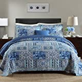 NEWLAKE Cotton Bedspread Quilt Sets-Reversible Patchwork Coverlet Set Blue Classic Bohemian PatternQueen Size