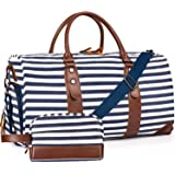 Oflamn Large Duffle Bag Canvas Leather Weekender Overnight Travel Carry On Bag - Free Toiletries Bag (Stripe 2019 S/S)