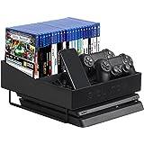 JackCubeDesign Playstation 4 Slim Organizer Multi-Functional Stand Wireless Joystick Controller Title Case DVD Storage Case B