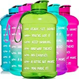 HydroMATE Half Gallon Motivational Water Bottle with Time Marker Large BPA Free Jug with Handle Reusable Leak Proof Bottle Ti