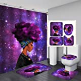 Fashion&Man 4PCS/Set Cool Girl Shower Curtain Waterproof Polyester Shower Curtain Afro African American Woman Lady Blowing Bu