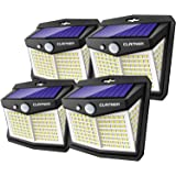Claoner Solar Motion Sensor Lights, [128 LED/4 Packs] Outdoor Solar Lights 3 Working Modes Solar Wall Lights with 270° Wide A
