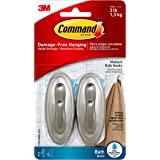 Command Traditional Plastic Bath Hooks Value Pack, Medium, Brushed Nickel, 2-Hooks (17051BNB-2ES)