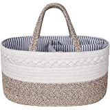 Zulux Baby Diaper Caddy Organizer - Cotton Rope Portable Basket Diaper Basket, Nursery Storage Bin with Removable Inserts, Ch