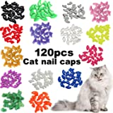 VICTHY 120pcs Cat Nail Caps, Colorful Pet Cat Soft Claws Nail Covers for Cat Claws with Adhesive and Applicators Medium