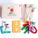 Curious Columbus Felt Alphabet and Flashcards. Set of 26 Handcrafted Uppercase Letters with Matching ABC Flash Cards. Teach H