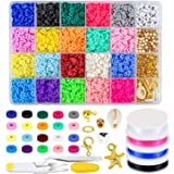 Clay Beads Flat Heishi Beads, 4285Pcs 20 Colors 6mm Round Clay Spacer Beads for Jewelry Making, Bracelet Necklace Earring DIY