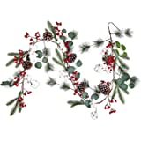 Lvydec Christmas Pine Garland Decoration, 6.7ft Eucalyptus Christmas Garland with Red Berry Pine Cone Cotton Boll and Eucalyp