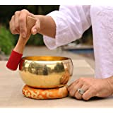DharmaObjects Tibetan Ring Gong Meditation Singing Bowl Mallet Cushion Set (Extra Large)