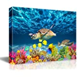 Bathroom Canvas Wall Art Kitchen Wall Decoration Modern Sea Turtle Wall Decor for Dining Room Colorful Fish Coral Beach Theme