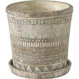SPICE OF LIFE(スパイス) 植木鉢 オリンポス プランター ブラウン Lサイズ 受け皿付き 底穴あり 直径17.5cm 高さ17.5cm CCGK1913