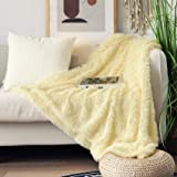 """Decorative Extra Soft Faux Fur Throw Blanket 50"""" x 60"""",Solid Reversible Fuzzy Lightweight Long Hair Shaggy Blanket,Fluffy Coz"""