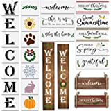 22Pcs Reusable Welcome Stencil for Painting on Wood/ Porch Sign and Front Door ,Vertical Welcome Sign Stencil -Comes with Sea