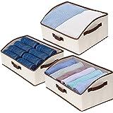 StorageWorks Storage Bins, Fabric Storage Baskets, Foldable Closet Organizer Trapezoid Storage Box, Polyester Canvas, Beige,
