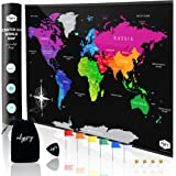 Large Premium Full Colour Scratch Off World Map (82cm x 54cm) Easy Scratch Technology, With Map Pins, Scratcher Accessories &