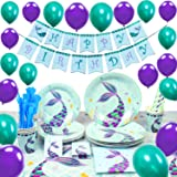 WERNNSAI Pool Mermaid Party Supplies Kit - Party Favors Girls Birthday Party Decoration Cutlery Bag Table Cover Plates Cups N