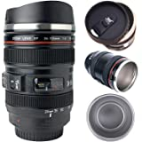 TMANGO Camera Lens Coffee Mug/Cup with Retractable Lid, Photo Coffee Mugs, Stainless Steel Travel Lens Mug for Photographer L