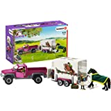 Schleich 42346 Pick Up with Horse Box Playset, Pink