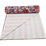Floral Bedding Bedspread Throw Blanket Indian Cotton Kantha Quilts Queen Size Reversible Bedspread Throw Coverlets