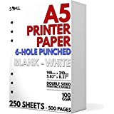 A5 Blank Paper - 250 Sheets - 6 Hole Punched for FiloFax, A5 Planners, Organizers, and Binders - 100 GSM (24 lb.) - 148mm x 2