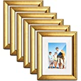 TWING 6 Packs 8x10 Picture Frame Gold Wood Displays 5x7 Photo Frame with Mat or 8x10 Inch Without Matted Shatter-Resistant Gl