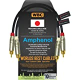 1 Foot – Directional Quad High-Definition Audio Interconnect Cable Pair Custom Made by WORLDS BEST CABLES – Using Mogami 2534