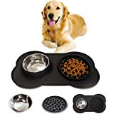 Dog Bowl 2-in-1 Stainless Steel Water Dog Bowl 600ml with Interactive Slow Feeder Dog Bowl Non Spill Silicone Mat Great for M