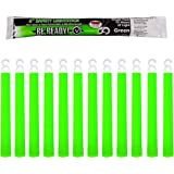 Be Ready Green Glow Sticks - Industrial Grade 12 Hour Illumination Emergency Safety Chemical Light Glow Sticks (12 Pack Green