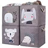 AXHOP Storage Cubes Storage Bins[4-Pack] Foldable Storage Baskets Boxes for Shelf, Clothes, Toys, Books, Kids, Nursery, Offic