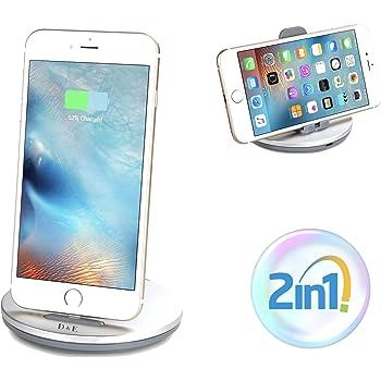 【D&E】 2in1 急速充電スタンド iPhone iPad 対応 充電ドッグ (1年保証付き) メタリックシルバー