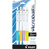 PILOT Acroball PureWhite Advanced Ink Refillable & Retractable Ball Point Pens with Turquoise/Orange/Purple/Lime Accents, Fin