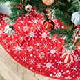 DegGod 48 inches Checked Christmas Tree Skirt, Red and Black Buffalo Plaid Double Layers Xmas Tree Base Cover Mat for Christm