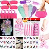 TABGIME 80+PCS Girls Spa Party Supplies Favors for Kids Spa Experience, Deluxe Spa Kit w/Spa Mask Bag Slipper Fold Bath Basin