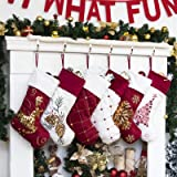 """GEX 2020 Family Christmas Stockings Set of 6 New Embroidery Sequins 19"""" Large Decor Hanging Ornament Fireplace Xmas Tree Holi"""