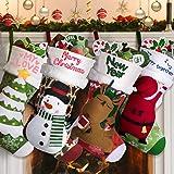 "Joyjoz Personalized Christmas Stockings with 3 Coloured Pens, 18"" Xmas Big Stockings with Santa, Snowman, Elk, Christmas Tree"