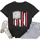 LUKYCILD American Flag Shirt Women July 4th Patriotic T-Shirt Star Stripes USA Tee Tops
