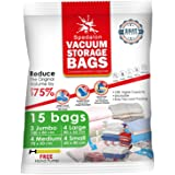Vacuum Storage Bags - Pack of 15 (3 Jumbo + 4 Large + 4 Medium + 4 Small) ReUsable Space Savers | Free Hand Pump for Travel P